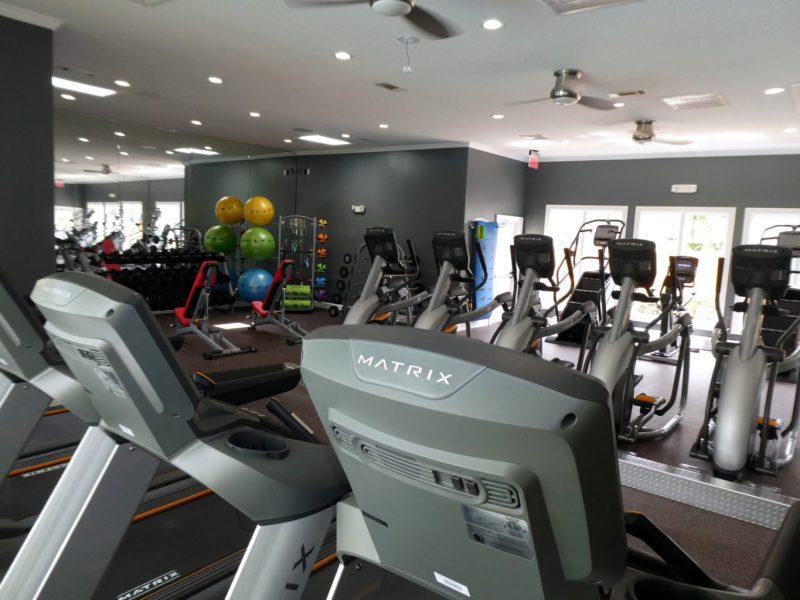 This image shows an expansive view of the fitness gym equipment featuring the standard treadmill, elliptical, and bike. These bikes allow the user to work at their level of resistance and pace while pushing and pulling their arms for an effective full-body workout.