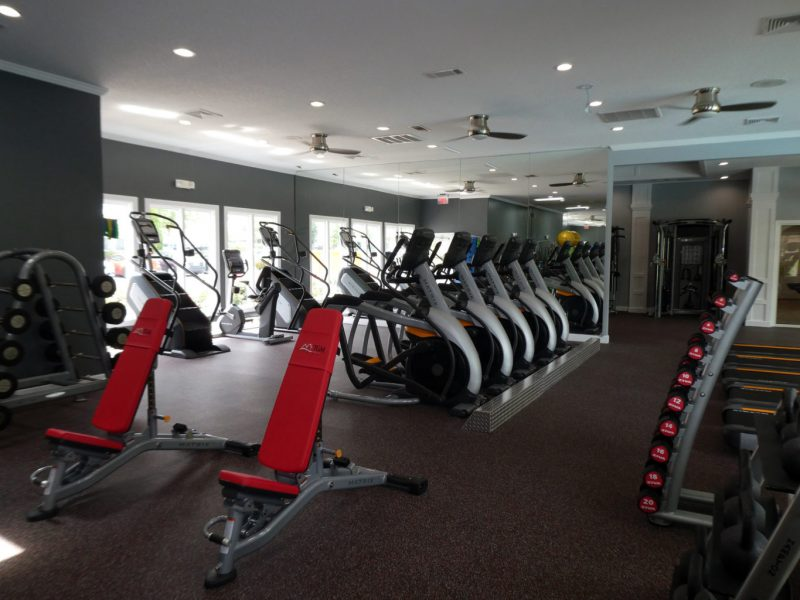 This image showcases the commercial fitness with State-of-the-art athletic club with equipment that is essential for community amenities and offering some chest strength machines.